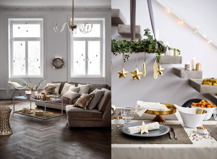 weihnachtsdeko messing gold tischdekoration ideen