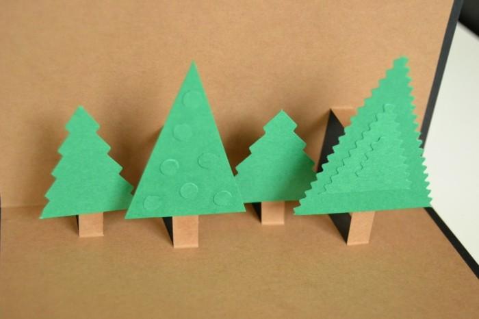 weihnachtskarten basteln diy geschenkpapier 3d weihnachtbaeume