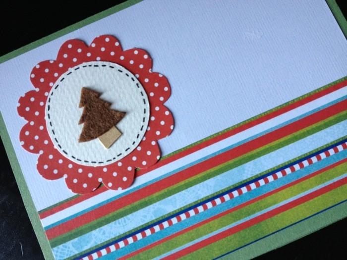 weihnachtskarten basteln diy geschenkpapier filz weihnachtsbaum