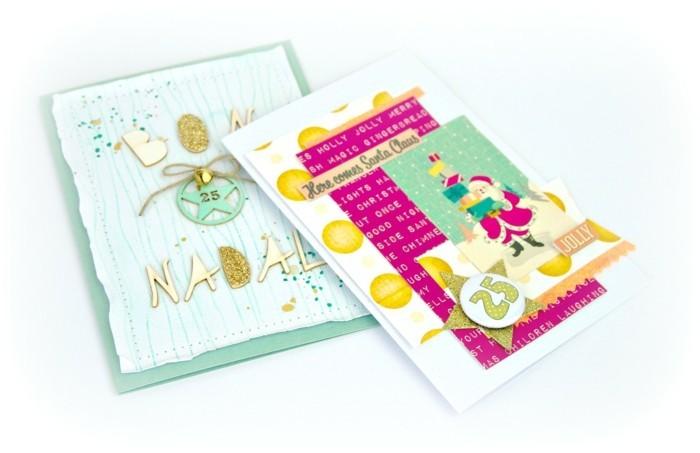 weihnachtskarten basteln geschenkpapier glitzer