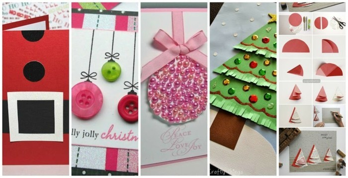 weihnachtskarten basteln diy geschenkpapier perlen knoepfe
