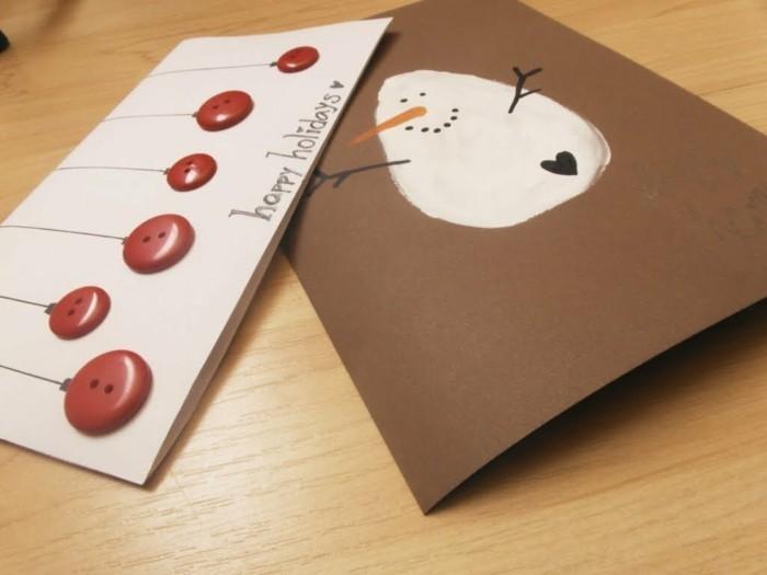 weihnachtskarten basteln diy geschenkpapier schneemann rote knopfe