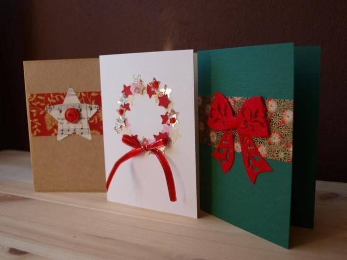 weihnachtskarten basteln geschenkpapier stoff knoepfe notenpapier