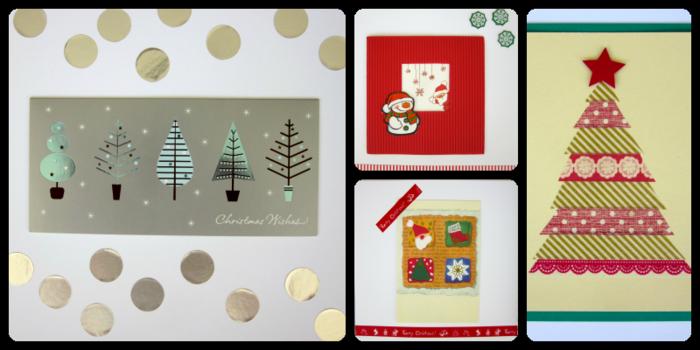 weihnachtskarten basteln diy geschenkpapier weihnachtsbaum schneemann