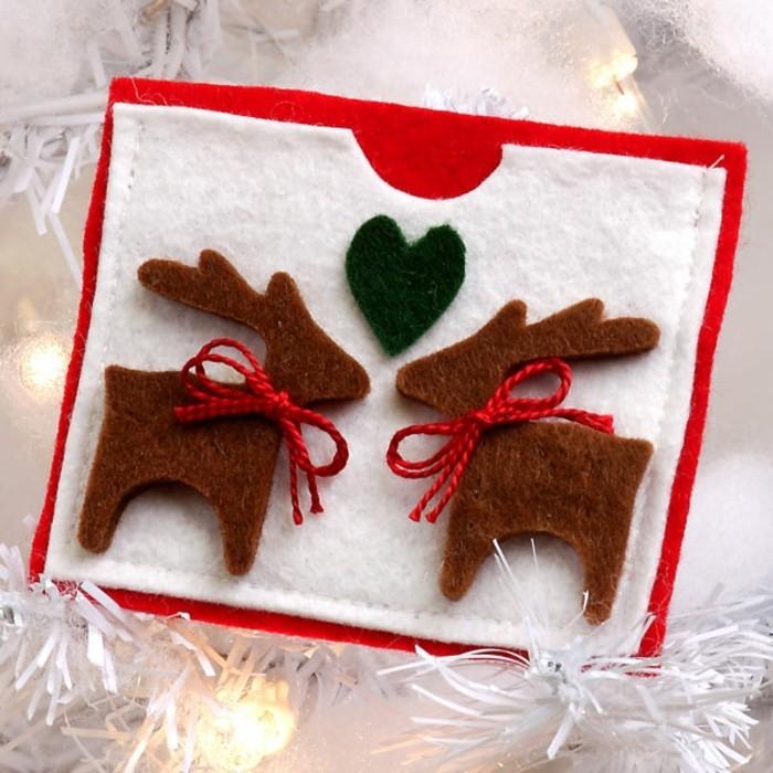 weihnachtskarten basteln diy hirschmotive filz