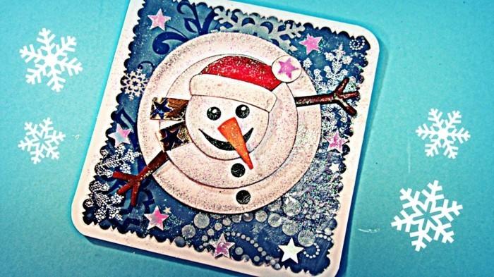 weihnachtskarten basteln diy idee 3d schneemann