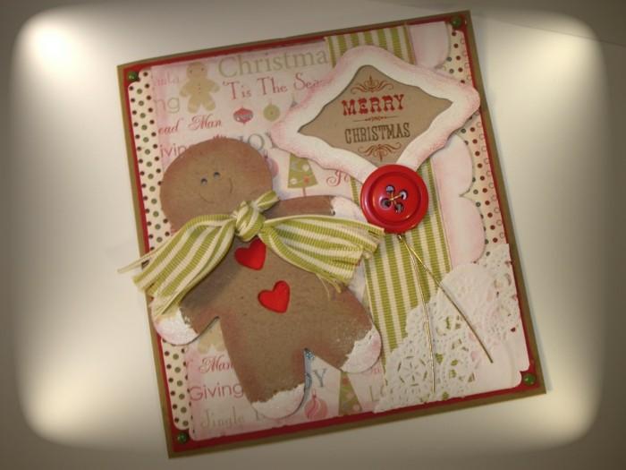weihnachtskarten basteln idee lebkuchenmaennchen knopf