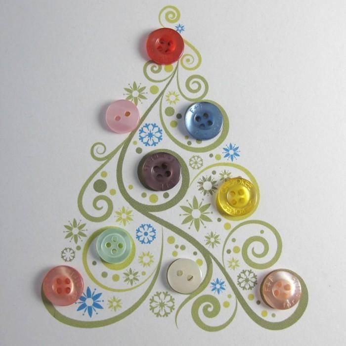 weihnachtskarten basteln diy ideen knoepfe