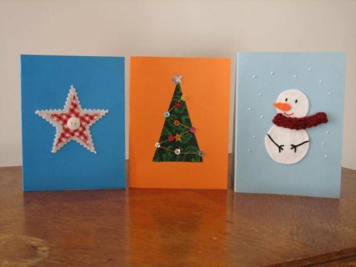 weihnachtskarten basteln diy ideen stern schneemann weihnachtsbaum
