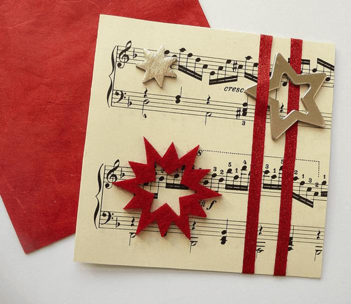 weihnachtskarten basteln diy notenpapier sterne filz
