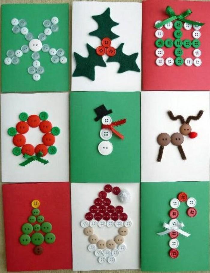weihnachtskarten basteln knoepfe diy ideen schneemann weihnachtsmann