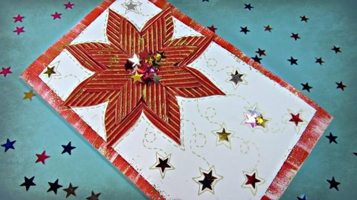 weihnachtskarten basteln weihnachtsstern glitzersterne diy ideen