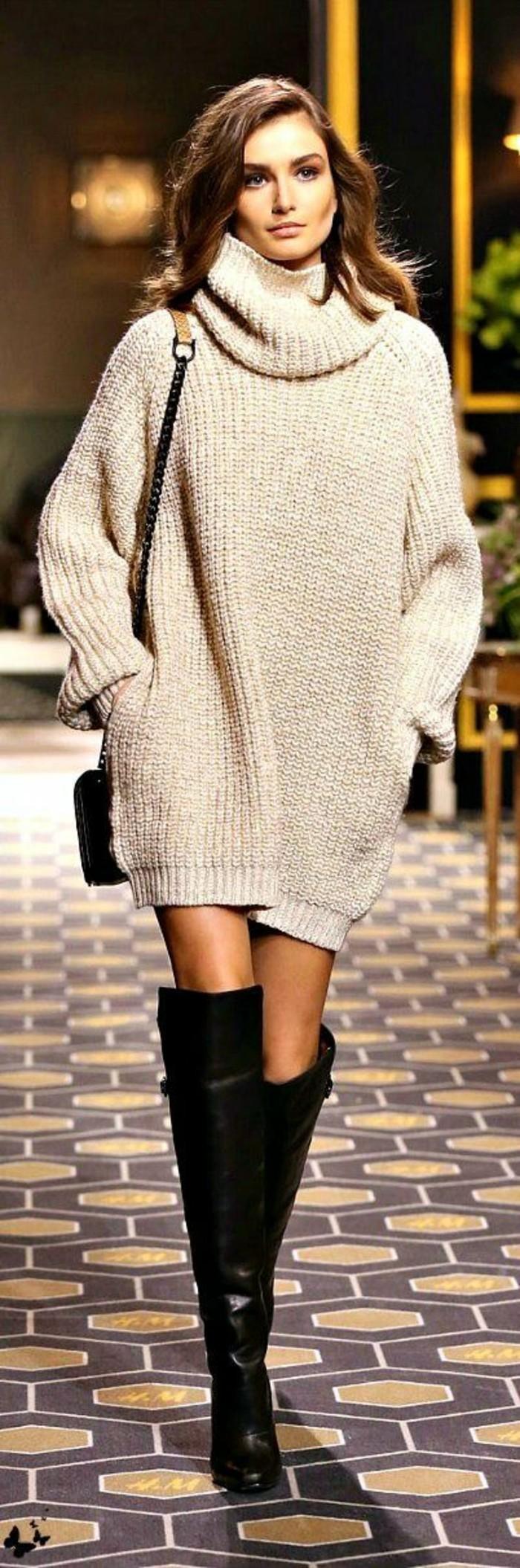 wintermode winterkleider pulloverkleid rollkragen