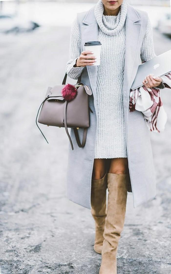 wintermode winterkleider strickkleid rollkragen weste