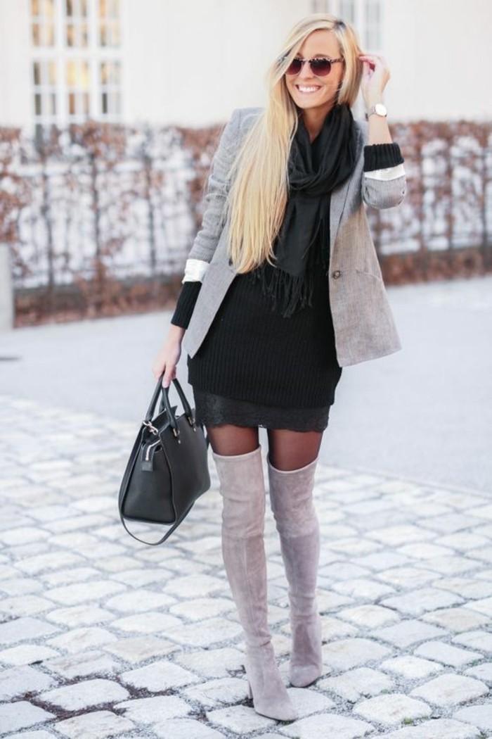 wintermode winterkleider strickkleid schwarz winter 2017