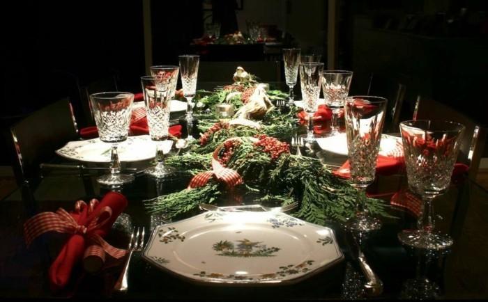 wohnideen esszimmer gruen traditionelle muster weihnachten