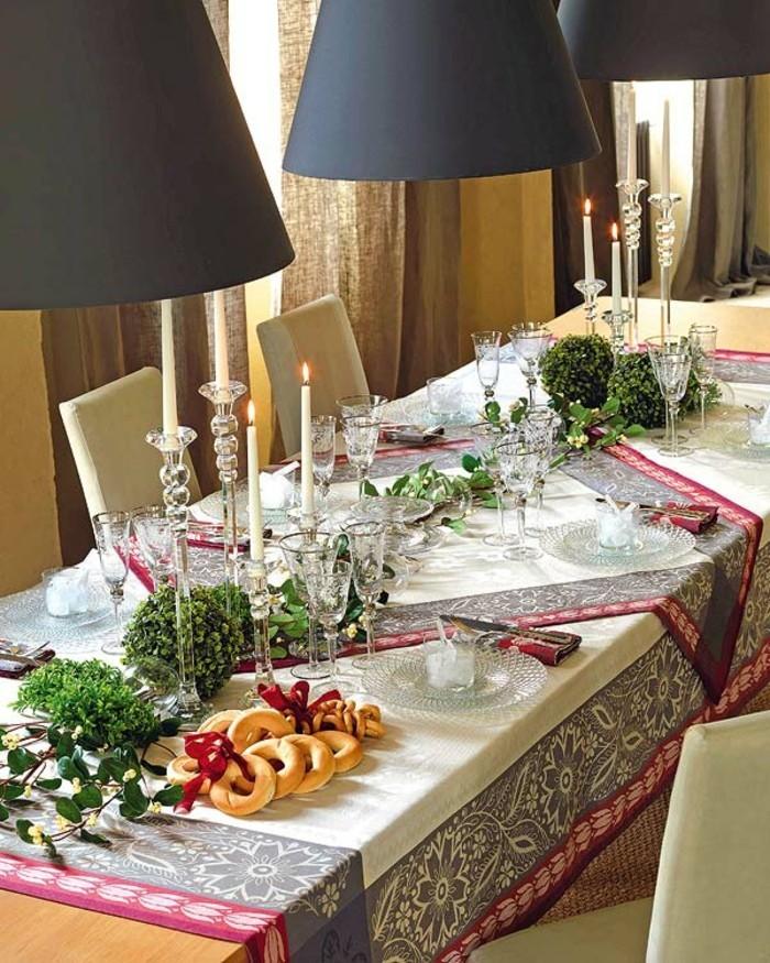 wohnideen esszimmer weihnachten gruen elegante tischdeko