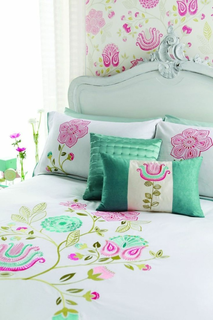 wohnideen schlafzimmer florale muster frisch
