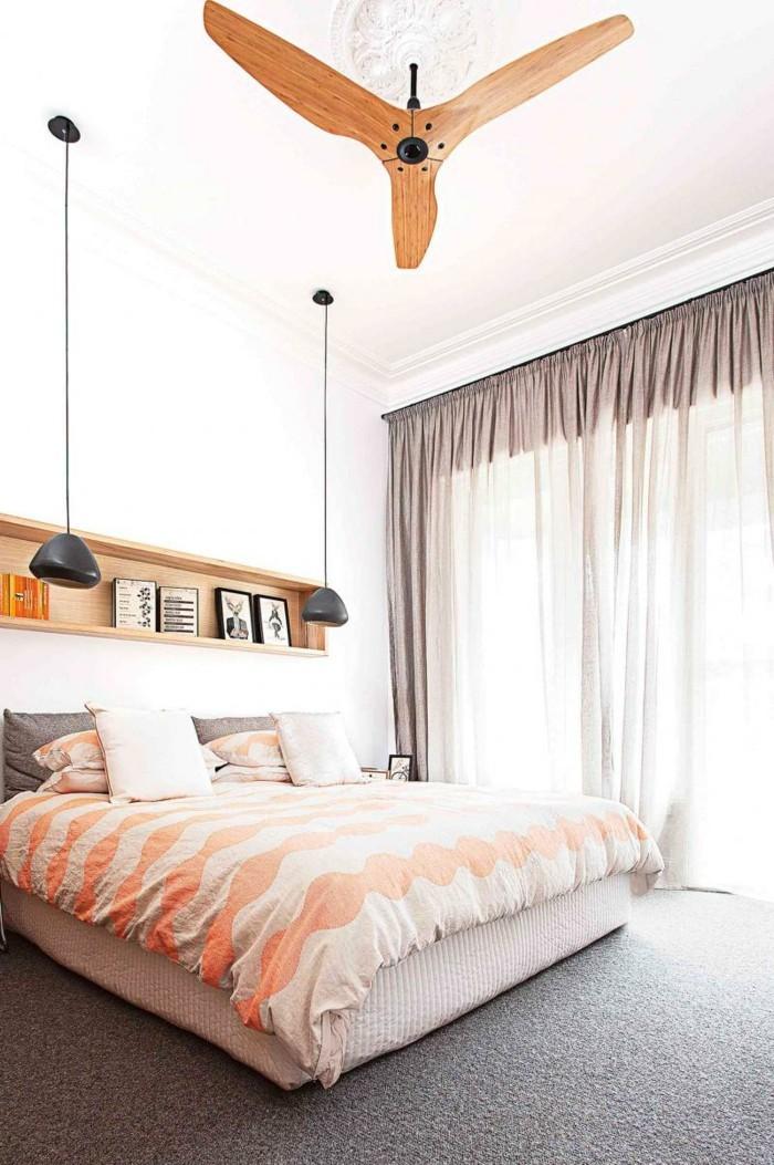 wohnideen schlafzimmer geraeumiges schlafzimmer luftige gardinen grauer teppichboden