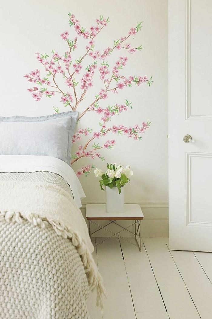 wohnideen schlafzimmer schoene wandgestaltung holzboden helles interieur