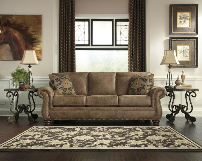 wohnideen wohnzimmer beistelltische schmiedeeisen pflanzen teppichmuster