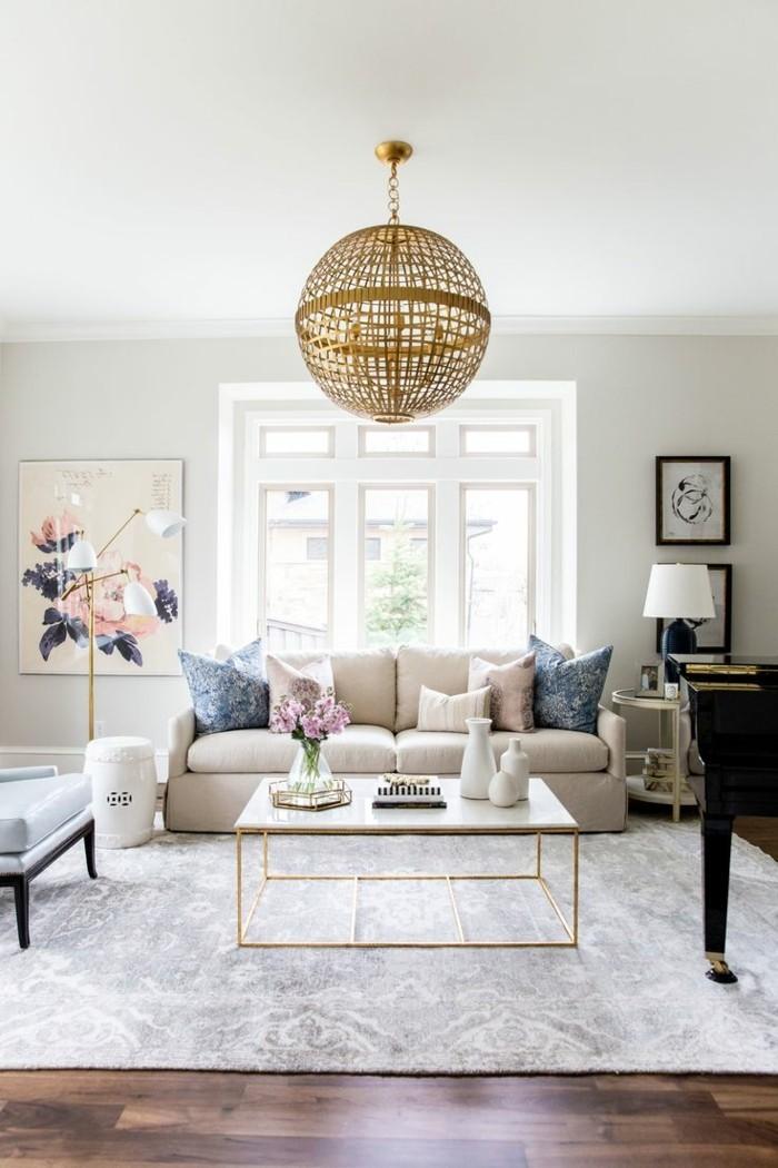 wohnideen wohnzimmer dekokissen heller teppich haengelampe