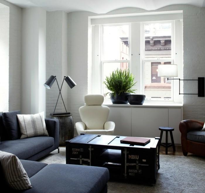 wohnideen wohnzimmer dunkle wohnzimmermoebel heller teppich