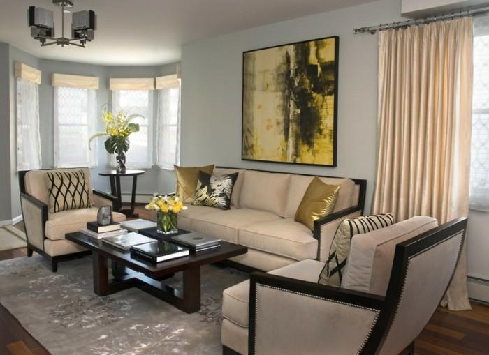 wohnideen wohnzimmer glaenzende einrichtung luftige gardinen