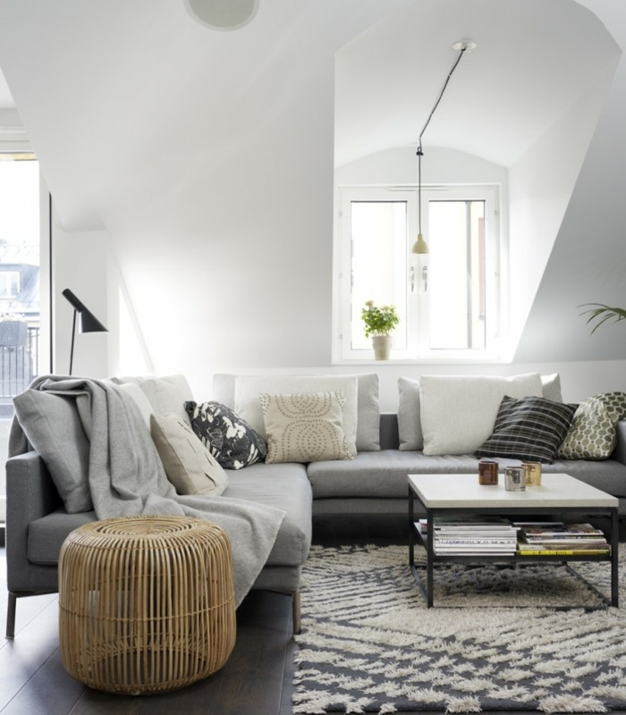 wohnideen wohnzimmer graues ecksofa