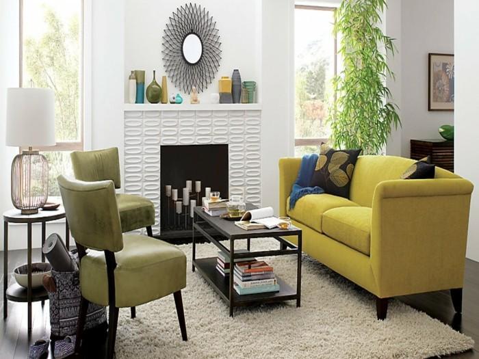wohnideen wohnzimmer heller teppich farbige moebel