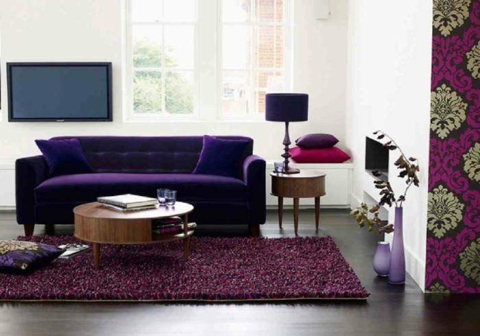 wohnideen wohnzimmer lila wohnzimmersofa bodenvasen
