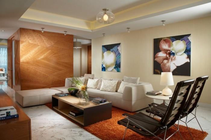 wohnideen wohnzimmer oranger teppich moderne beleuchtung abgehaengte decke