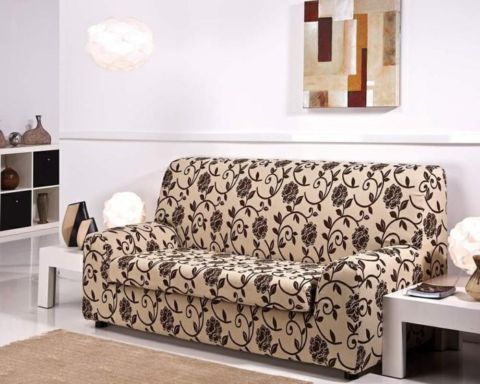 wohnideen wohnzimmer sofabezug florales muster