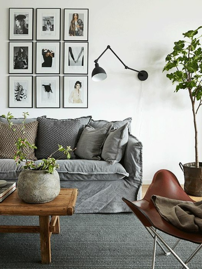 wohnideen wohnzimmer sofabezug grau pflanze wandbilder grauer teppich