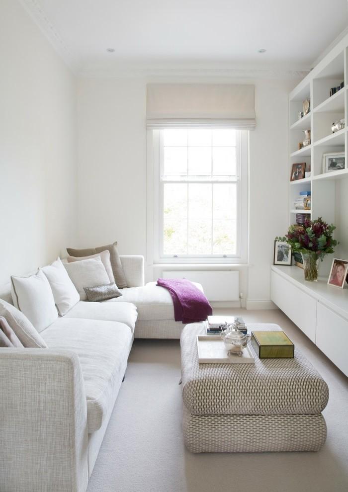 wohnideen wohnzimmer weisses sofa heller bodenbelag