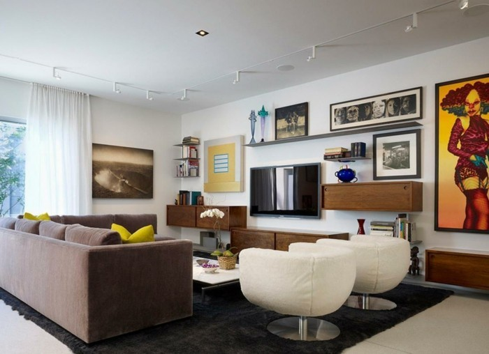 wohnideen wohnzimmer wohnzimmermoebel schickes sofa schwarzer teppich moderne sessel