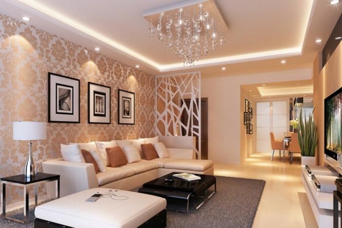 wohnideen wohnzimmer wohnzimmersofa stilvole tapete dunkler teppich beleuchtung ideen