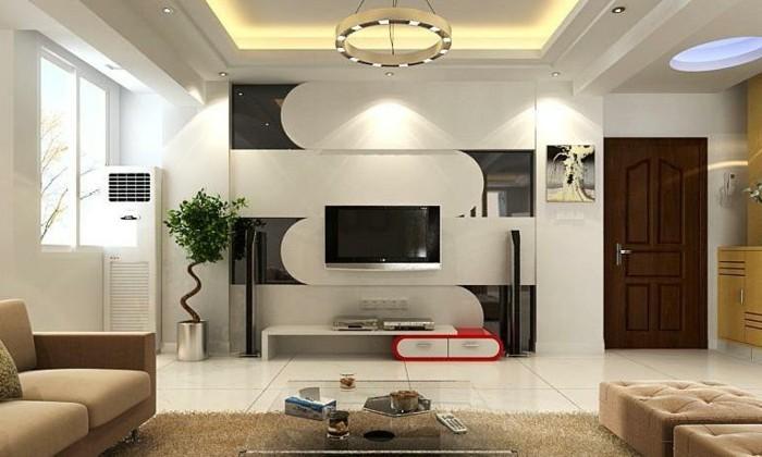 Wohnung Einrichten Modernes Wohnzimmer Wohnwand Beige Moebel