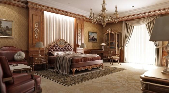 wohnung einrichten schlafzimmer traditionell gemuetlich tapete ledersessel