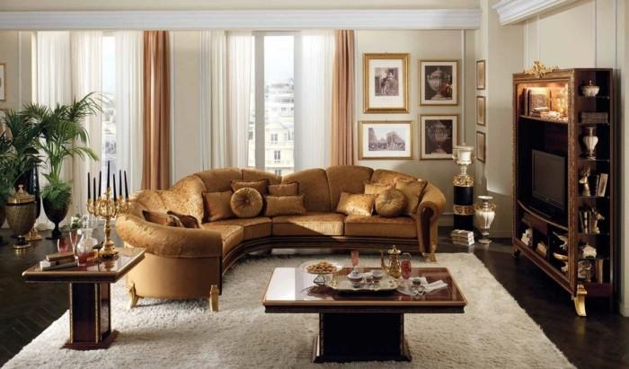 wohnung einrichten wohnzimmer elegantes sofa weisser teppich pflanze