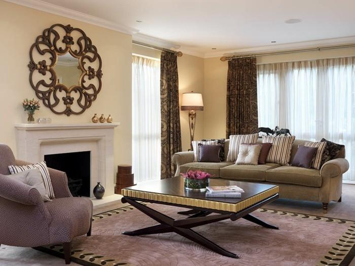 wohnung einrichten wohnideen wohnzimmer wandspiegel schöne gardinen