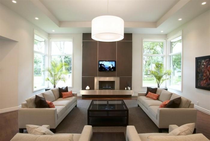 Wohnzimmergestaltung Helle Farben Pflanzen Abgehaengte Decke