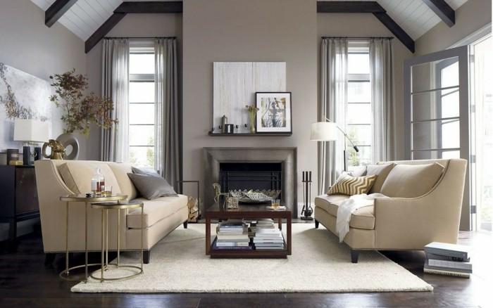 Wohnzimmergestaltung Heller Teppich Elegante Wohnzimmersofas Kamin