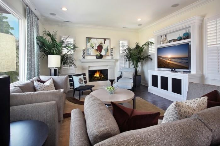 wohnzimmergestaltung hellgraue moebel schicke dekokissen