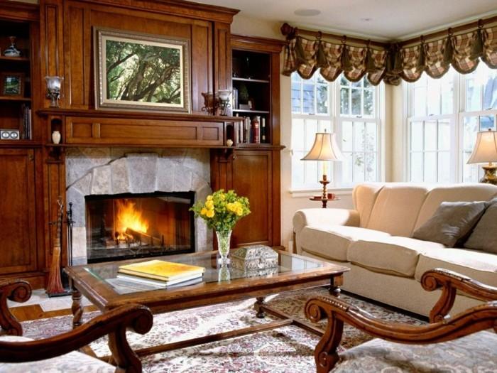 wohnzimmergestaltung kamin teppich gemuetlich stilvoll