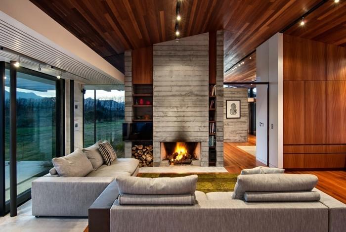 wohnzimmergestaltung moderner wohnbereich graue wohnzimmermoebel grosse fenster