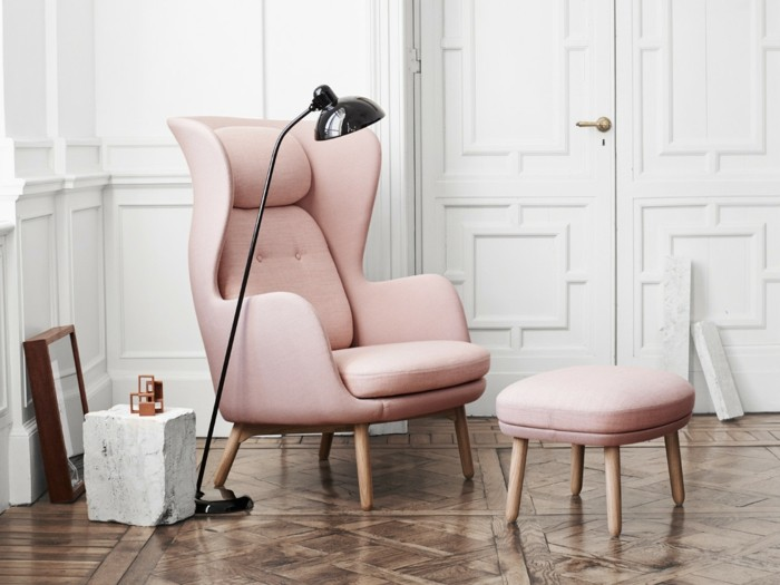 design moebel armchair sessel pastell rosa fritz hansen ro easy chair