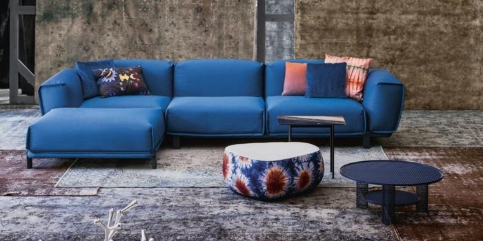 design moebel sofa blau beistelltische perserteppich moroso