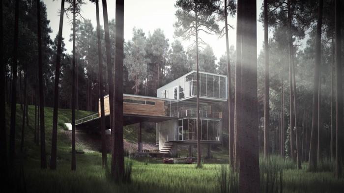 ferienhaus bauen beton gestaltung einrichtung bauideen betonbau waldhaus baum huette