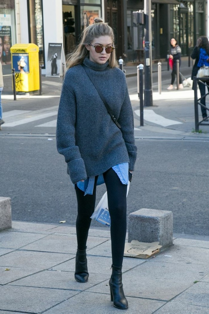 grauer pullover damenmode wintertrends layer look-boots